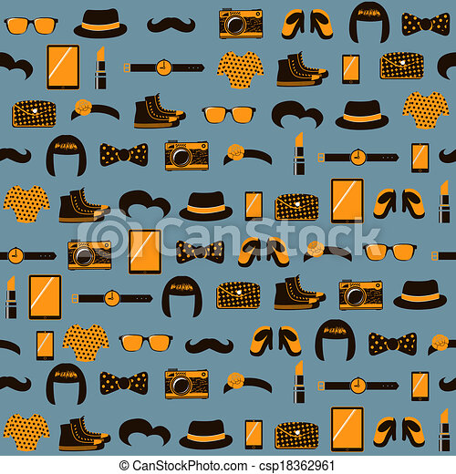 Hipster seamless pattern - csp18362961
