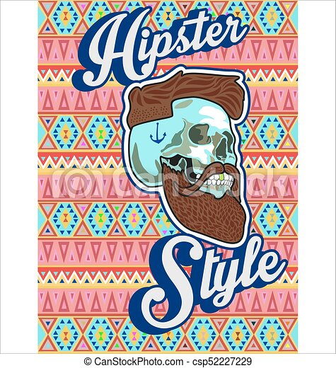 hipster skull with beard and mustache.eps - csp52227229