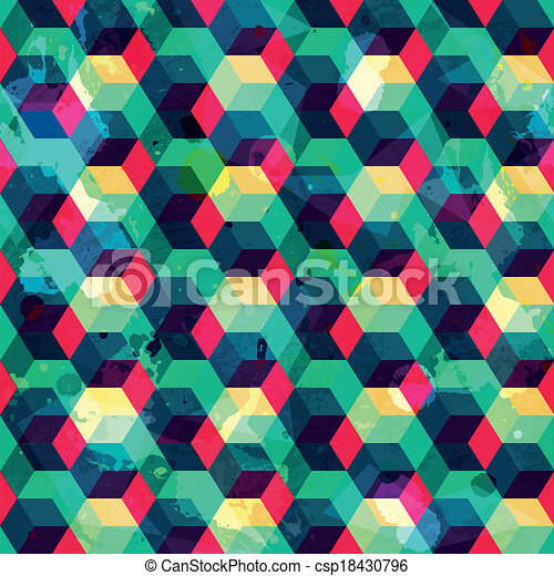 hipster squares seamless pattern with grunge effect - csp18430796