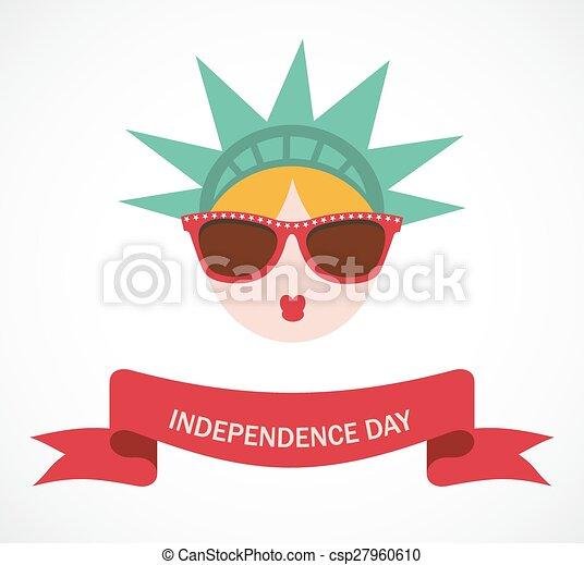 Hipster Statue Of Liberty New York Landmark American Symbol