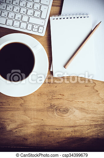 Vintage Hipster Style Office Table Decor With Cup Of Coffee, Computer  Keyboard And Smart Phone. Bloggeru0027s Modern Workspace, Interior Details, Top  View.
