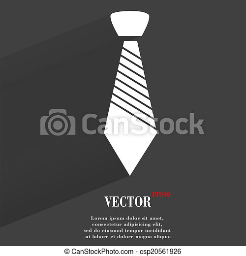 Hipster tie. Flat modern web button with long shadow and space for your text - csp20561926