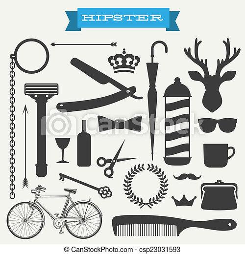 hipster, vecteur, ensemble, icône - csp23031593