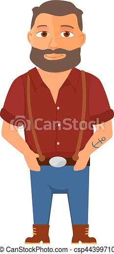 hipster, vetorial, personagem, caricatura, beard. - csp44399710