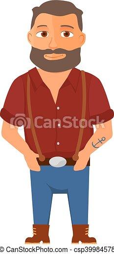 hipster, vetorial, personagem, caricatura, beard. - csp39984578