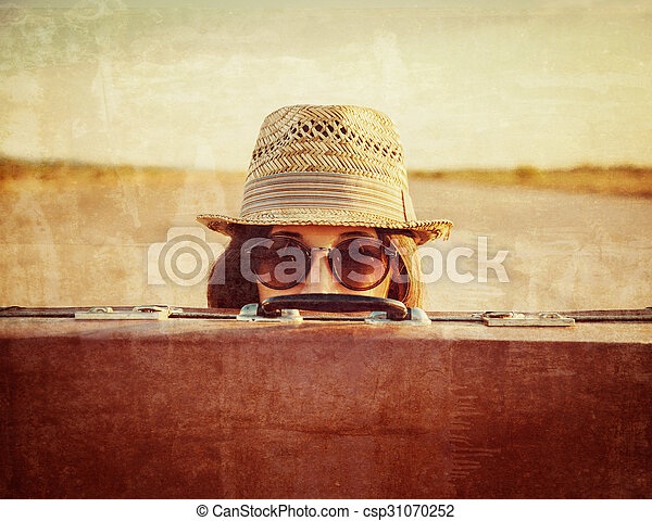 Hipster with suitcase - csp31070252