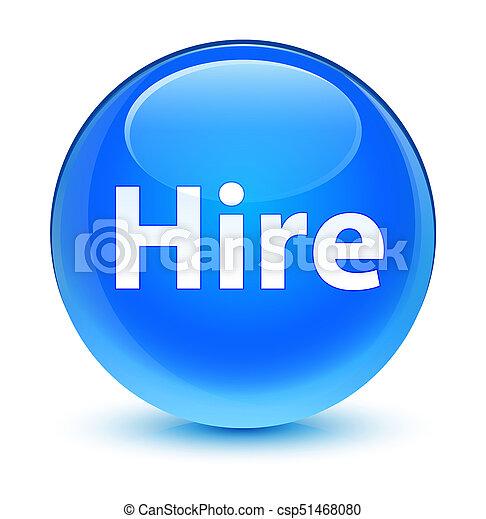 Hire glassy cyan blue round button - csp51468080