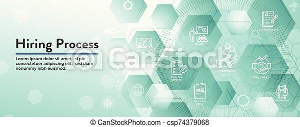 Hiring Process icon set with web header banner - csp74379068