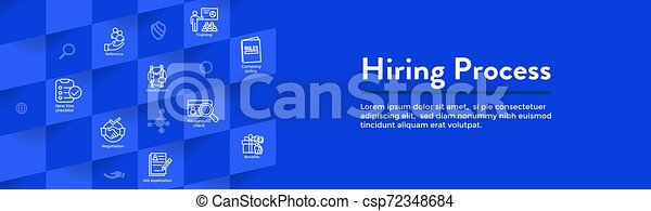 Hiring Process icon set with web header banner - csp72348684