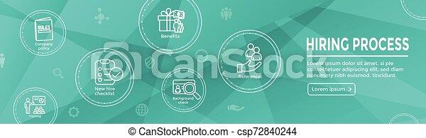 Hiring Process icon set with web header banner - csp72840244