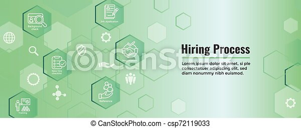 Hiring Process icon set with web header banner - csp72119033