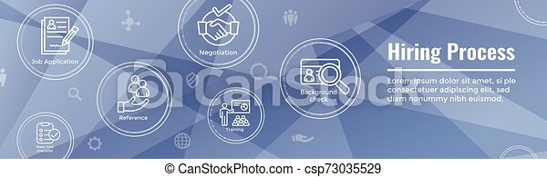 Hiring Process icon set with web header banner - csp73035529