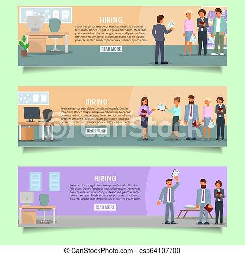 Hiring process vector web banner template set - csp64107700