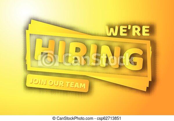 Hiring recruitment design poster. Vector illustration. Open vacancy design template. - csp62713851