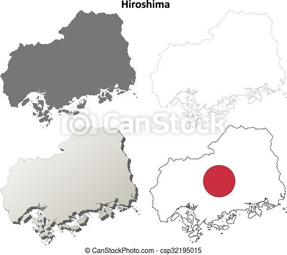 Hiroshima blank outline map set Hiroshima prefecture blank
