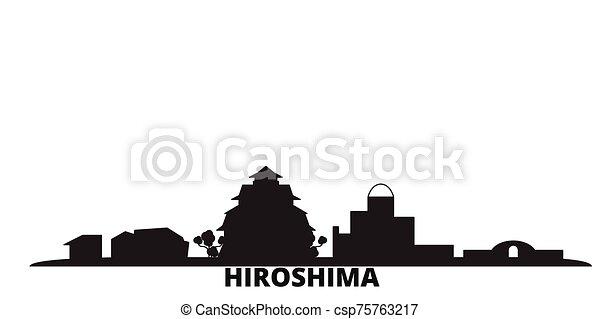 hiroshima, ciudad, aislado, negro, viaje, contorno, japón, illustration., cityscape, vector - csp75763217