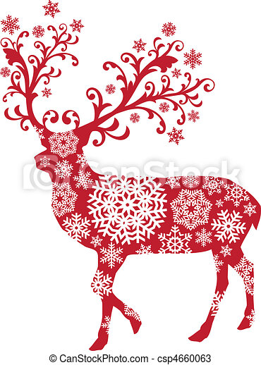 hirsch, vektor, weihnachten - csp4660063