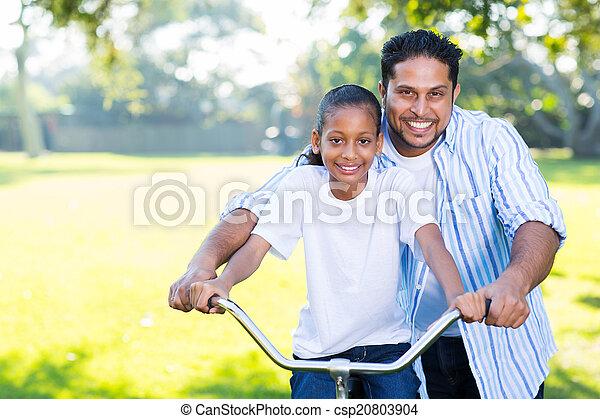 his, дочь, поездка, отец, помощь, велосипед - csp20803904