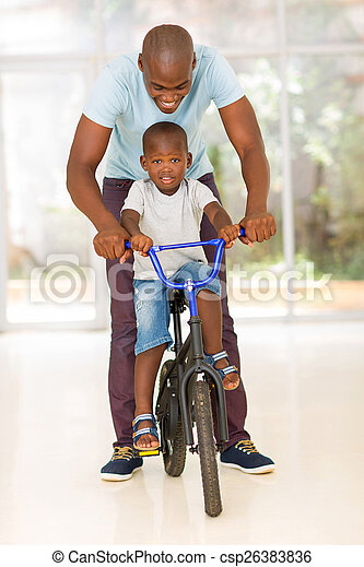 his, поездка, сын, помощь, велосипед, африканец, человек - csp26383836