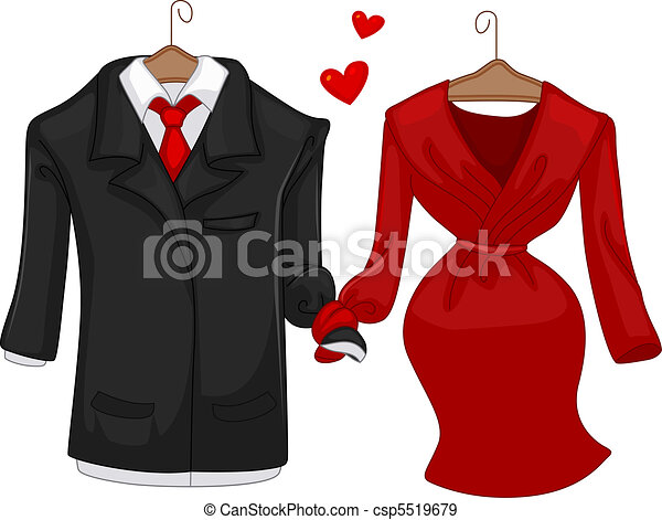 His and hers. Illustration of a pair of formal attire for ...