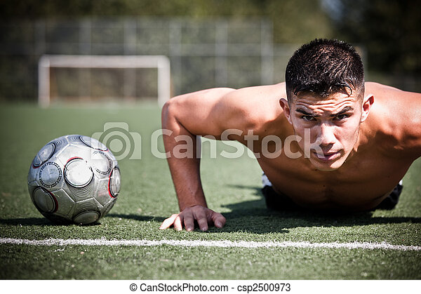 hispânico, futebol, ou, jogador de futebol - csp2500973