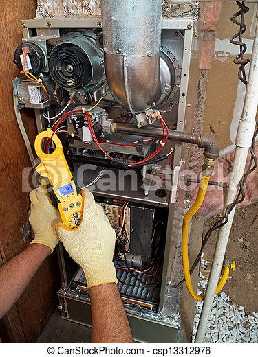 Hispanic air conditioning repair man performing maintenance - csp13312976