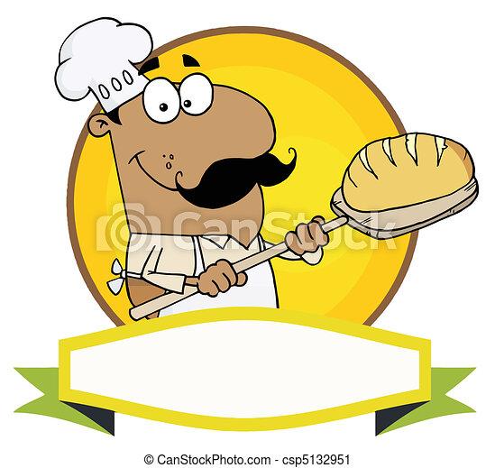 Hispanic Baker Holding Bread - csp5132951