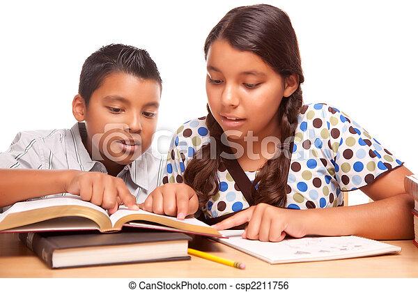 Hispanic Brother and Sister Having Fun Studying - csp2211756