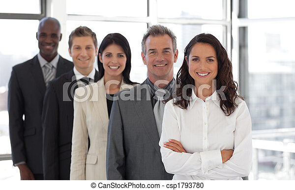 Hispanic Business woman leading a team of workers - csp1793780
