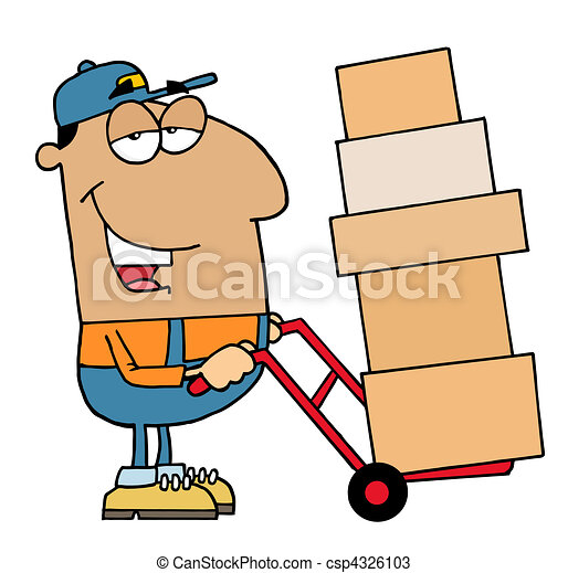 friendly hispanic delivery man using a dolly to move boxes vectors rh canstockphoto com hispanic culture clipart hispanic clipart