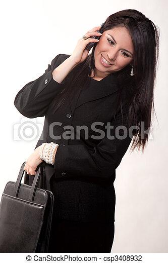hispanic, dwudziestki, pociągający, kobieta interesu - csp3408932