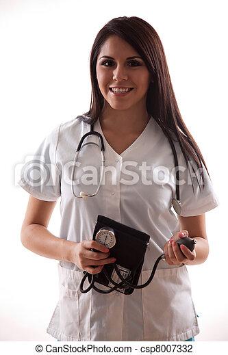 hispanic, dwudziestki, pracownik, ładny, healthcare - csp8007332