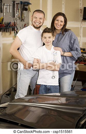 Hispanic Family in Garage - csp1515561