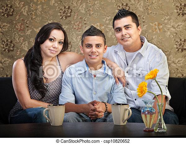 Hispanic Family of Three - csp10820652