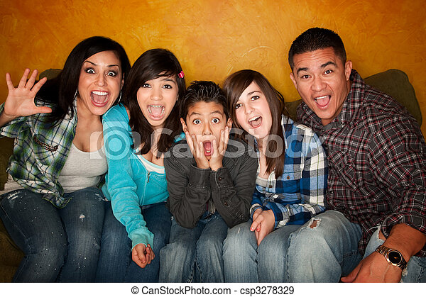 Hispanic Familywith Big Reaction - csp3278329