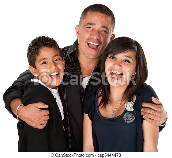 Hispanic Father Hugging Kids - csp5444473