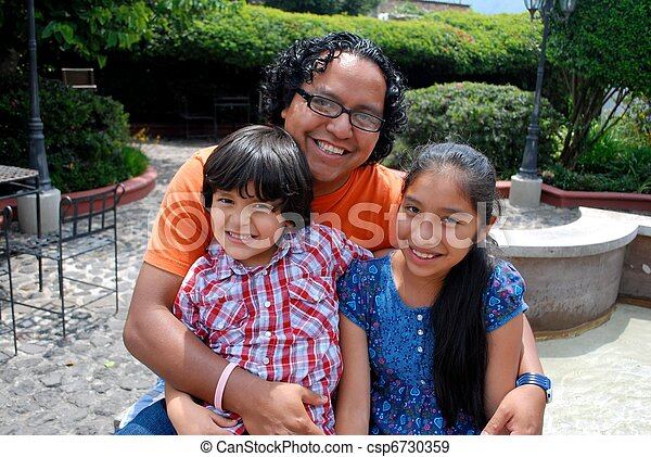 Hispanic father with two kids - csp6730359