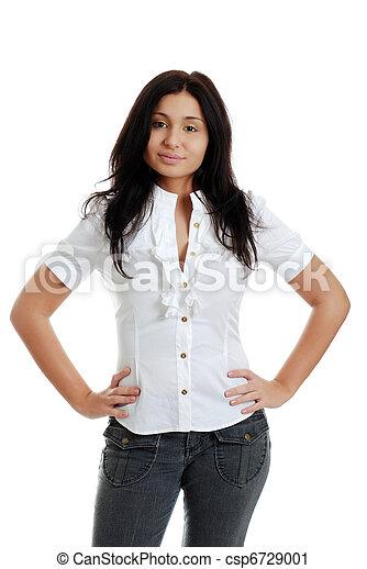 hispanic kobieta, biodra, siła robocza - csp6729001