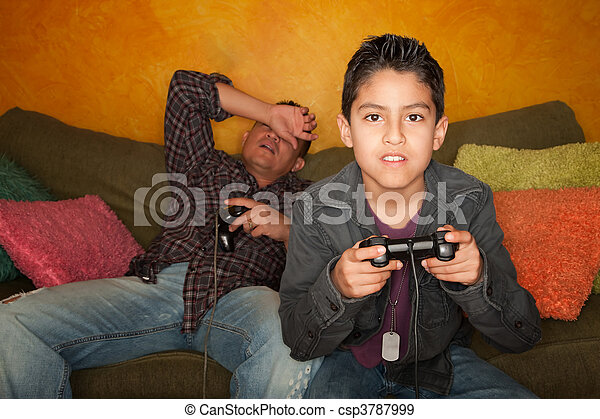 Hispanic Man and Boy Playing Video game - csp3787999