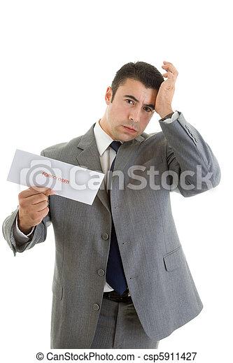 Hispanic Man Hand Head Foreclosure Notice Isolated - csp5911427