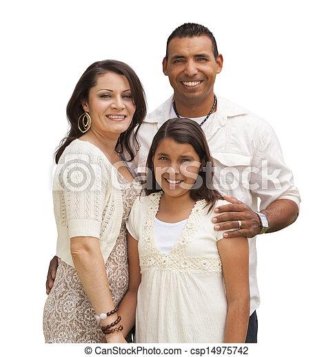 hispano, blanco, aislado, familia  - csp14975742