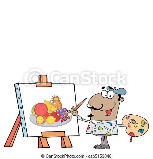 Feliz pintor hispano - csp5153046