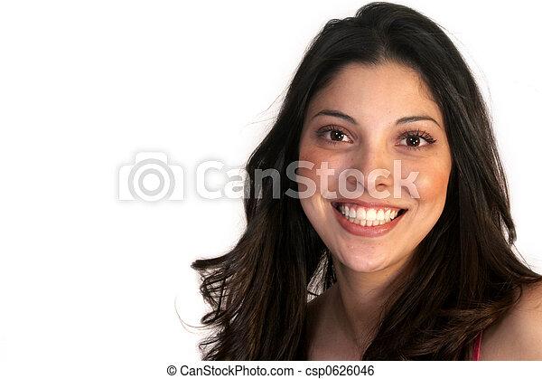 Mujer hispana sonriente - csp0626046