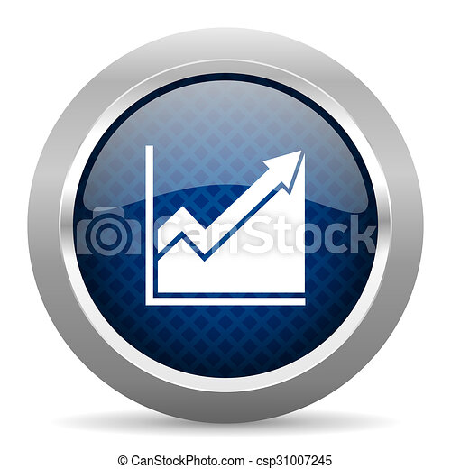 histogram blue circle glossy web icon on white background, round button for internet and mobile app - csp31007245