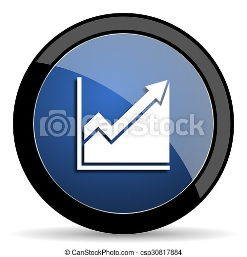 histogram blue circle glossy web icon on white background, round button for internet and mobile app - csp30817884