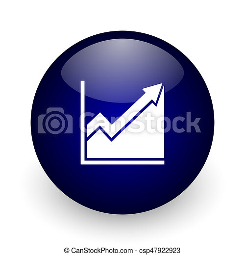 Histogram blue glossy ball web icon on white background. Round 3d render button. - csp47922923
