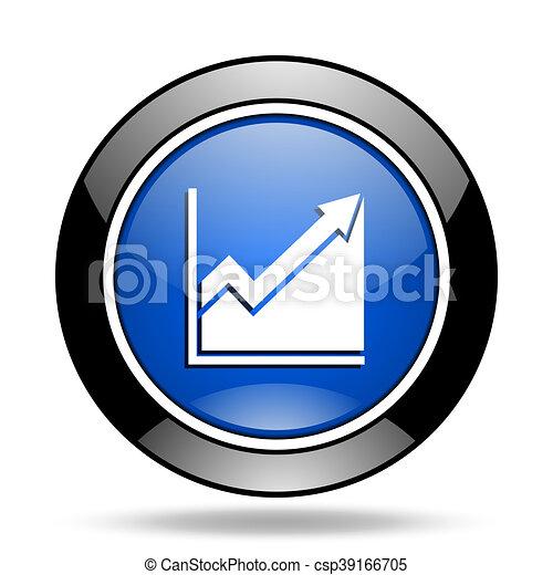 histogram blue glossy icon - csp39166705