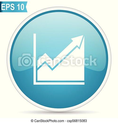 Histogram blue glossy round vector icon in eps 10. Editable modern design internet button on white background. - csp56815083