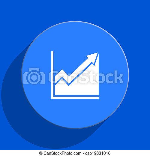 histogram blue web flat icon - csp19831016