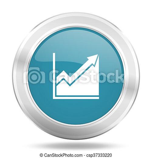 histogram icon, blue round glossy metallic button, web and mobile app design illustration - csp37333220